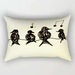 Birds on a Wire Ink Doodle Rectangular Pillow