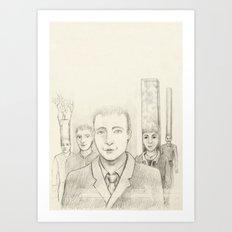 Cubic heads Art Print