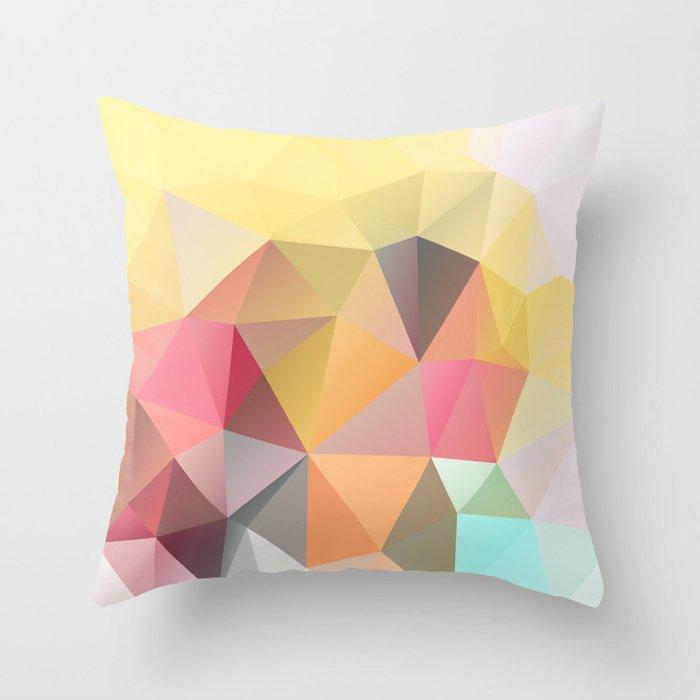 Polygon print bright colors Throw Pillow by fuzzyfox85  985838e9af35