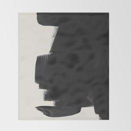 Mid Century Modern Minimalist Abstract Art Brush Strokes Black & White Ink Art Colorfield Throw Blanket