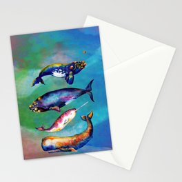 Whale Pyramid #3 - Watercolor Whales Stationery Cards
