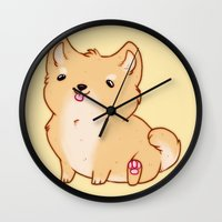 shiba Wall Clocks featuring Shiba Inu by Berneri