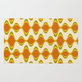 Retro Psychedelic Wavy Pattern in Orange, Yellow, Olive Rug