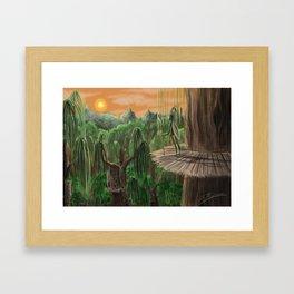 Alien Jungle Landscape A3 Print Framed Art Print
