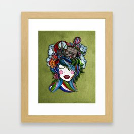 Paris girl in green Framed Art Print