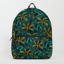 Snake Palms - Dark Teal Mustard Backpack