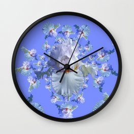 BLUE-WHITE IRIS ABSTRACT PATTERN Wall Clock