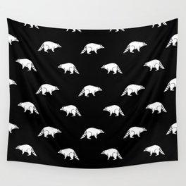 Raccoon linocut black and white animal pattern minimal basic pattern Wall Tapestry
