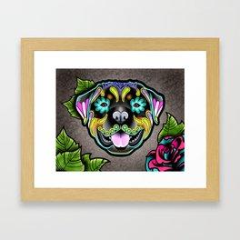 Rottweiler - Day of the Dead Sugar Skull Dog Framed Art Print