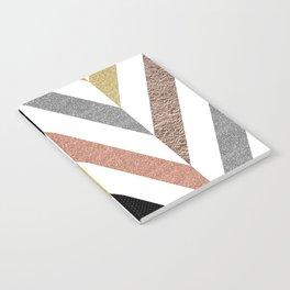 Rose Gold & Silver Herringbone Pattern Notebook