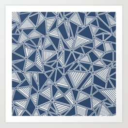 Abstract Outline Lines Navy Art Print