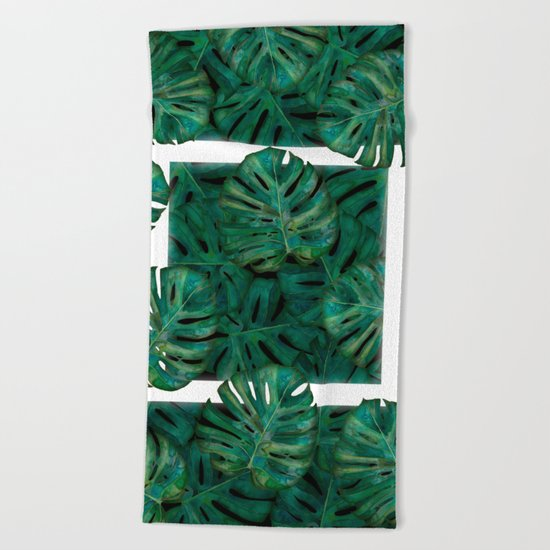 Square Between the Leaves Beach Towel