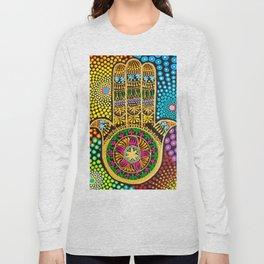 Hamsa Hand, hand of fatima, mandala, yoga art, mandala art, meditation art Long Sleeve T-shirt