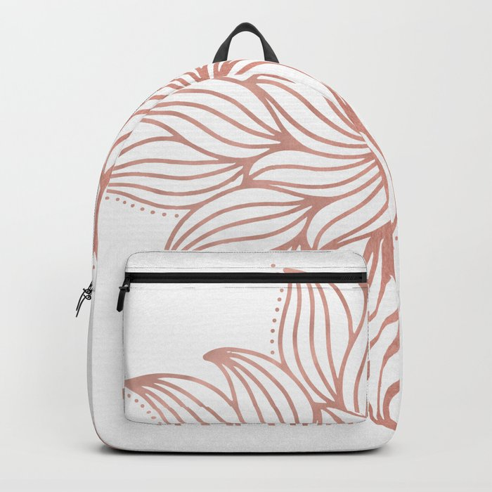 Mandala Floral Rose Gold on White Backpack