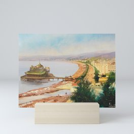 Nice, France; French Riviera; View of the Promenade des Anglais landscape painting by Hermann Schmidt Mini Art Print
