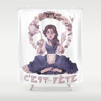 macaroon Shower Curtains featuring Enchanting  by Lettie Bug