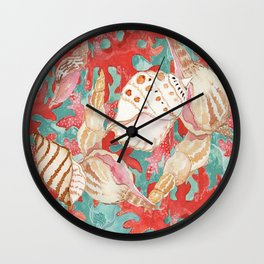 Aqua Turquoise Coral Red Seahells Art Pattern Wall Clock