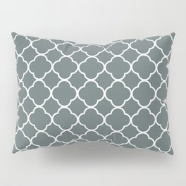 Grey, Steel: Quatrefoil Clover Pattern Pillow Sham