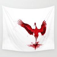 crane Wall Tapestries featuring Crimson Crane by Ariouk