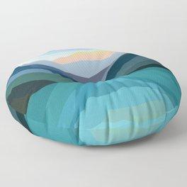 Mountainside Teal Lake Floor Pillow