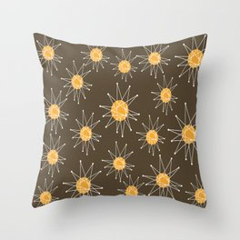 Mid-Century Atomic Starburst Pattern Throw Pillow