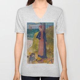 1889 - Gauguin - Breton girl spinning Unisex V-Neck