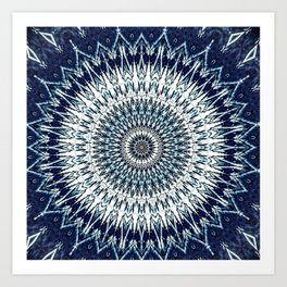Indigo Navy White Mandala Design Art Print