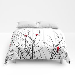 Artistic Bright Red Birds on Tree Branches Comforters