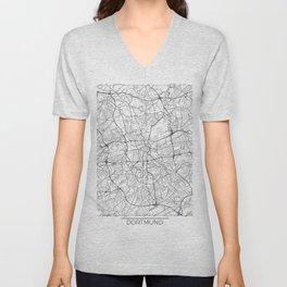 Dortmund Map White Unisex V-Neck