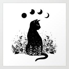 Night Garden Cat Art Print