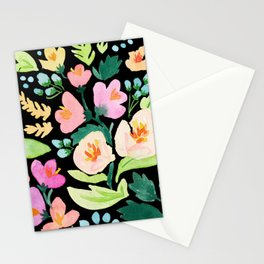 Watercolor Florals on Black Stationery Cards