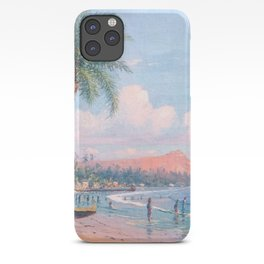 Waikiki Beach, Diamond Head, Oahu landscape painting by D. Howard Hitchcock iPhone Case