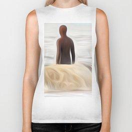 Gormley Statue in the Sea (Digital Art) Biker Tank
