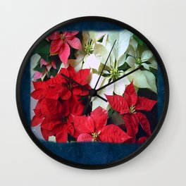 Mixed color Poinsettias 1 Blank P6F0 Wall Clock