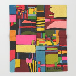 Colors in Collision 2 - Geometric Abstract in Blue Yellow Pink and Green Throw Blanket