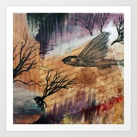 literary Art Prints featuring Literary Flying Fish by Sarah Sutherland