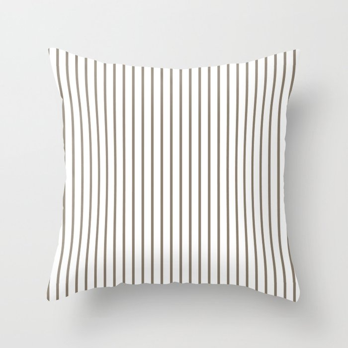 Mulch Brown Pinstripe on White Throw Pillow by honorandobey | Society6