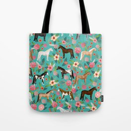 Horses floral horse breeds farm animal pets Tote Bag