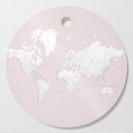 World map, highly detailed in dusty pink and white, square Cutting Board