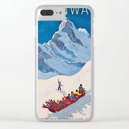 Switzerland Vintage Ski Travel Poster Clear iPhone Case
