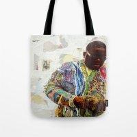biggie Tote Bags featuring Biggie by Katy Hirschfeld