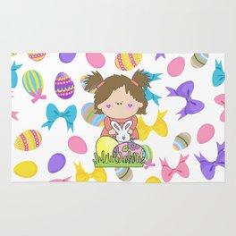 Easter Eggs Girl Rug