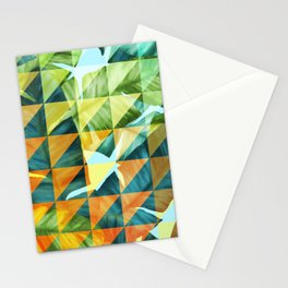 Abstract Geometric Tropical Banana Leaves Pattern Stationery Cards