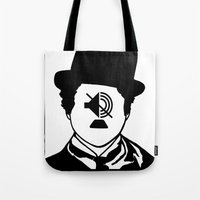 charlie chaplin Tote Bags featuring Charlie Chaplin by NotNorrah