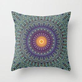 Happy Sun Circle Bohemian Geometric Thread Weave Pattern \\ Yellow Green Blue Purple Color Scheme Throw Pillow