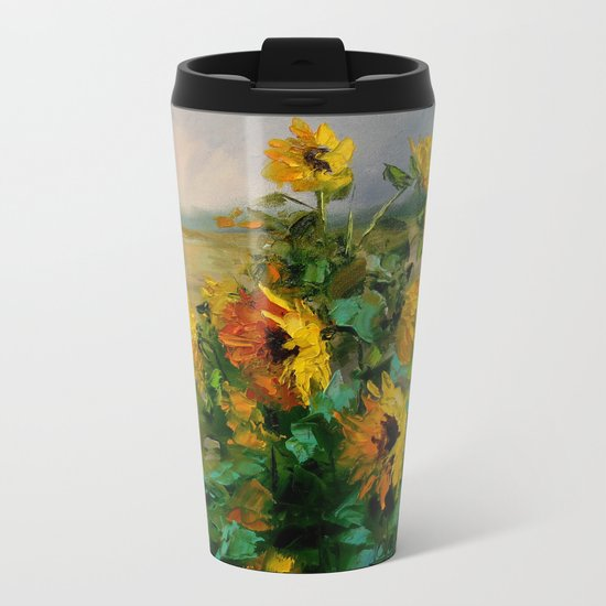 Sunflowers in a field Metal Travel Mug