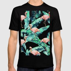 Tropical Flamingo Black Mens Fitted Tee LARGE