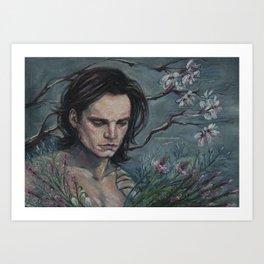 Bucky & Flowers Art Print