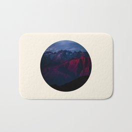 Purple Mountain Range Circle Photo Bath Mat