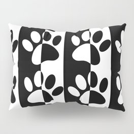 Black And White Dog Paws And Stripes Pillow Sham